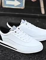 baratos -Homens Sapatos Confortáveis Couro Ecológico Primavera & Outono Tênis Branco / Rosa e Branco / Branco / Preto