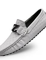 Недорогие -Муж. Кожаные ботинки Наппа Leather Весна На каждый день / Английский Мокасины и Свитер Массаж Черный / Коричневый / Синий