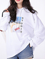 Недорогие -женский длинный рукав с капюшоном - письмо с капюшоном