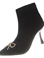 Недорогие -Жен. Fashion Boots Полиуретан Зима На каждый день Ботинки На шпильке Сапоги до середины икры Стразы Черный