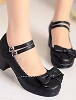 Недорогие -Жен. Комфортная обувь Полиуретан Весна Обувь на каблуках На толстом каблуке Черный / Лиловый / Красный
