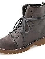 Недорогие -Жен. Армейские ботинки Полиуретан Осень Ботинки На низком каблуке Круглый носок Темно-серый / Темно-коричневый