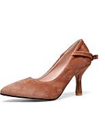 Недорогие -Жен. Комфортная обувь Замша Весна Обувь на каблуках На шпильке Черный / Серый / Коричневый