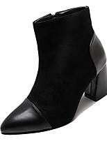 Недорогие -Жен. Армейские ботинки Полиуретан Зима На каждый день Ботинки На толстом каблуке Сапоги до середины икры Черный / Хаки / Контрастных цветов