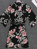 Недорогие -Жен. Сорочка / халат Ночное белье - С принтом Цветочный принт / На бретелях