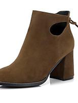 Недорогие -Жен. Fashion Boots Замша Лето Ботинки На толстом каблуке Закрытый мыс Ботинки Черный / Хаки