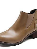 Недорогие -Жен. Fashion Boots Полиуретан Осень На каждый день Ботинки На толстом каблуке Сапоги до середины икры Черный / Коричневый / Хаки