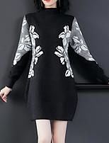 Недорогие -женский выход тонкий свитер / оболочка платье колено длиной водолазка