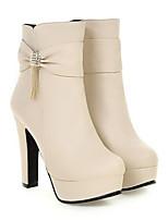 Недорогие -Жен. Fashion Boots Полиуретан Лето Ботинки На толстом каблуке Закрытый мыс Ботинки Белый / Черный / Розовый