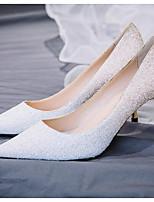 Недорогие -Жен. Комфортная обувь Синтетика Лето Обувь на каблуках На шпильке Белый / Черный / Серебряный
