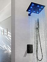 Недорогие -смеситель для душа / смеситель для ванной комнаты - современная окраска настенного латунного клапана led