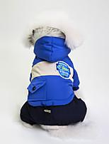 baratos -Cachorros Casacos Roupas para Cães Estampa Colorida Cinzento / Vermelho / Azul Algodão / Mistura de Material Ocasiões Especiais Para animais de estimação Unisexo A prova de Vento / Casual / desportivo