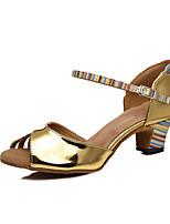 abordables -Femme Chaussures Latines Cuir Verni Talon Fantaisie Talon Bobine Chaussures de danse Or / Bronze