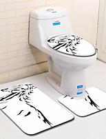 Недорогие -3 предмета Modern Коврики для ванны 100 г / м2 полиэфирный стреч-трикотаж Животное нерегулярный / Прямоугольная Ванная комната Творчество