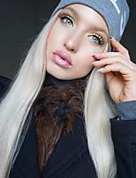 Недорогие -Синтетические кружевные передние парики Прямой Средняя часть Искусственные волосы 22-26 дюймовый Мягкость / Жаропрочная / Женский Белый Парик Жен. Длинные Лента спереди Платиновый блондин / Мода