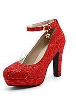 Недорогие -Жен. Мэри Джейн Синтетика Весна Свадебная обувь На толстом каблуке Красный