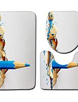 Недорогие -3 предмета Modern Коврики для ванны 100 г / м2 полиэфирный стреч-трикотаж Креатив Прямоугольная Ванная комната Легко очистить