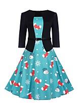 baratos -Mulheres Moda de Rua / Elegante Bainha Vestido - Estampado, Floco de Neve Altura dos Joelhos