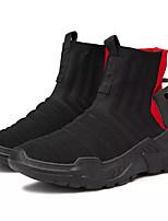 baratos -Homens Sapatos Confortáveis Com Transparência / Couro Ecológico Outono Casual Tênis Não escorregar Estampa Colorida Preto / Branco / Preto / Preto / Vermelho