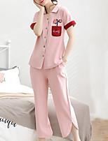 abordables -Col de Chemise Costumes Pyjamas Femme Couleur Pleine