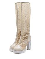 Недорогие -Жен. Fashion Boots Сетка Весна & осень Ботинки Блочная пятка Белый / Черный / Бежевый
