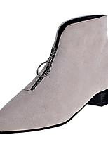 Недорогие -Жен. Fashion Boots Полиуретан Осень Минимализм Ботинки На толстом каблуке Заостренный носок Ботинки Черный / Бежевый / Винный
