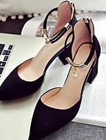 Недорогие -Жен. Комфортная обувь Замша Весна лето Обувь на каблуках На толстом каблуке Черный / Серый
