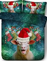 Недорогие -Пододеяльник наборы Рождество Полиэстер Активный краситель 3 предметаBedding Sets / 3 шт. (1 пододеяльник, 2 наволочки)