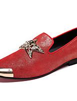 Недорогие -Муж. Кожаные ботинки Наппа Leather Весна Английский Мокасины и Свитер Нескользкий Красный