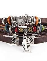 Недорогие -Муж. Плетение Кожаные браслеты - Рыбки, Сова Художественный, Уникальный дизайн Браслеты Коричневый Назначение Для вечеринок Для улицы