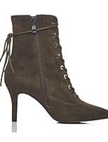 billiga -Dam Fashion Boots Mocka / Fårskinn Sommar Stövlar Stilettklack Stängd tå Korta stövlar / ankelstövlar Svart / Armégrön