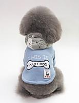 baratos -Cachorros Casacos Roupas para Cães Personagem / Osso / Slogan Vermelho / Azul Felpudo Ocasiões Especiais Para animais de estimação Unisexo Casual / Aquecimento