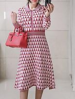 Недорогие -женский выход тонкий свитер / оболочка платье midi рубашка воротник