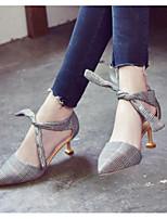 Недорогие -Жен. Комфортная обувь Синтетика Осень Обувь на каблуках На шпильке Бежевый / Винный