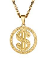 baratos -Homens Colares com Pendentes - Aço Inoxidável Clássico Dourado, Preto, Prata 55 cm Colar Jóias 1pç Para Presente, Diário