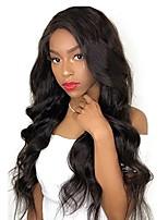 Недорогие -человеческие волосы Remy Полностью ленточные Лента спереди Парик Бразильские волосы Волнистый Естественные кудри Черный Парик Ассиметричная стрижка 130% 150% 180% Плотность волос / Природные волосы