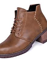 Недорогие -Жен. Fashion Boots Полиуретан Зима На каждый день Ботинки На толстом каблуке Ботинки Черный / Коричневый / Военно-зеленный