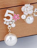 abordables -Femme Blanc Blanc Perle Perlé Boucles d'oreille goujon - Perle Cœur Mode Blanc / Noir / Bleu Pour Vacances Festival