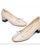 Недорогие -Жен. Балетки Наппа Leather Весна Обувь на каблуках На толстом каблуке Белый / Черный / Верблюжий