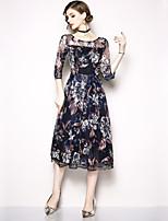 Недорогие -Жен. Изысканный / Элегантный стиль А-силуэт Платье - Цветочный принт, Сетка / Вышивка Средней длины