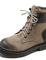 Недорогие -Жен. Армейские ботинки Полиуретан Наступила зима На каждый день Ботинки На плоской подошве Круглый носок Ботинки Черный / Темно-коричневый / Хаки