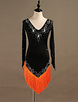 baratos -Dança Latina Vestidos Mulheres Treino Fibra Sintética / Organza / Tule Mocassim / Cristal / Strass Manga Longa Alto Vestido