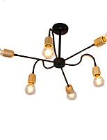 baratos -QINGMING® 6-luz Mini Lustres Luz Ambiente Acabamentos Pintados Metal Madeira / Bambu Estilo Mini 110-120V / 220-240V