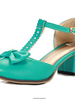 Недорогие -Жен. Комфортная обувь Полиуретан Лето Обувь на каблуках На толстом каблуке Белый / Зеленый / Розовый