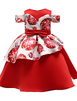 Недорогие -Дети Девочки Активный Милая Цветочный принт С принтом С короткими рукавами До колена Платье Красный