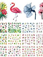 Недорогие -12 pcs Наклейка для переноса воды В форме листа / Цветы маникюр Маникюр педикюр Новый дизайн / Лучшее качество / Высокое качество, отсутствие формальдегида тропический / Милая
