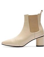 Недорогие -Жен. Комфортная обувь Наппа Leather Весна лето Ботинки На плоской подошве Черный / Миндальный