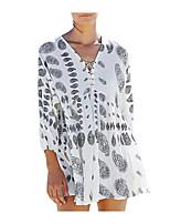Недорогие -Жен. Классический Погруженный декольте Белый Пляжные шорты Накидка Купальники - Горошек Один размер / Сексуальные платья