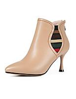 Недорогие -Жен. Fashion Boots Наппа Leather Осень Ботинки На шпильке Закрытый мыс Ботинки Черный / Миндальный