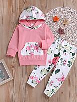 baratos -bebê Para Meninas Casual / Activo Feriado / Para Noite Floral Estampado Manga Longa Padrão Padrão Algodão Conjunto Rosa 100 / Bébé